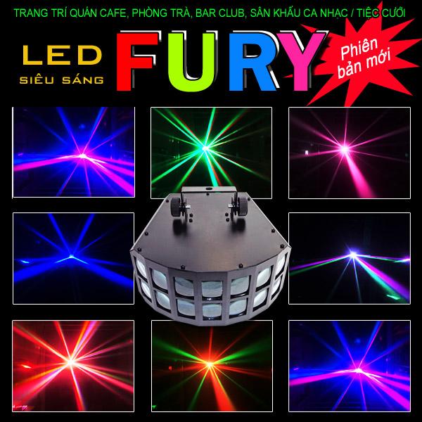 Đèn LED FURY quét tia sáng mạnh, nhiều mầu sắc