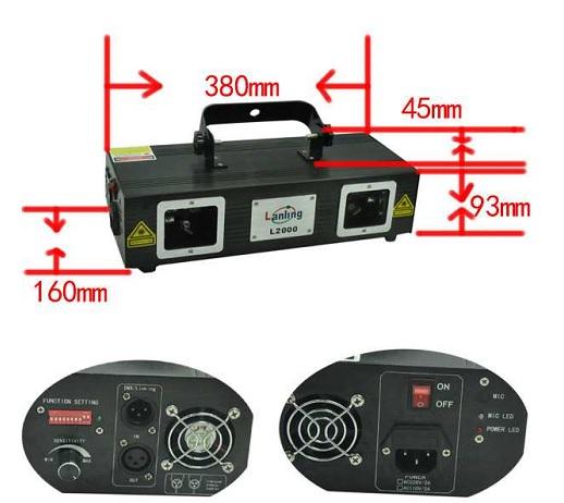 Kích thước và mặt sau đèn laser 2 cửa RGY L2000