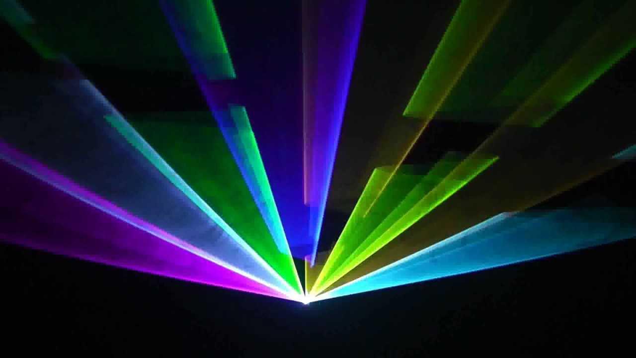 Den laser 1 cua 7 mau chieu tia hinh quat