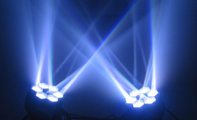 Các tia sáng trắng Đèn LED moving head Bee Eye 6 mắt