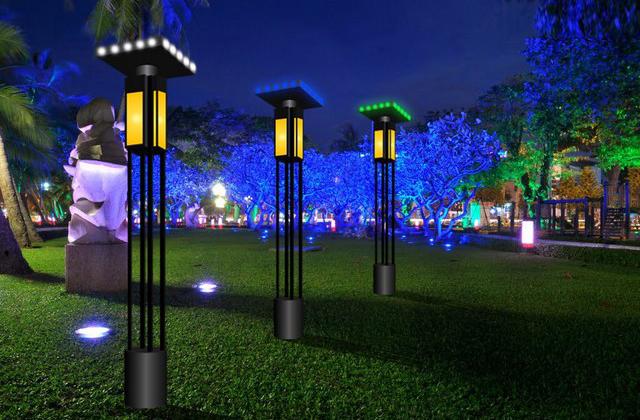 Trang trí đèn đổi màu tại công viên