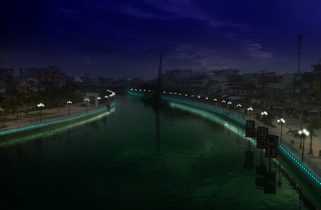 Trang trí ánh sáng tại bờ sông, bờ kè