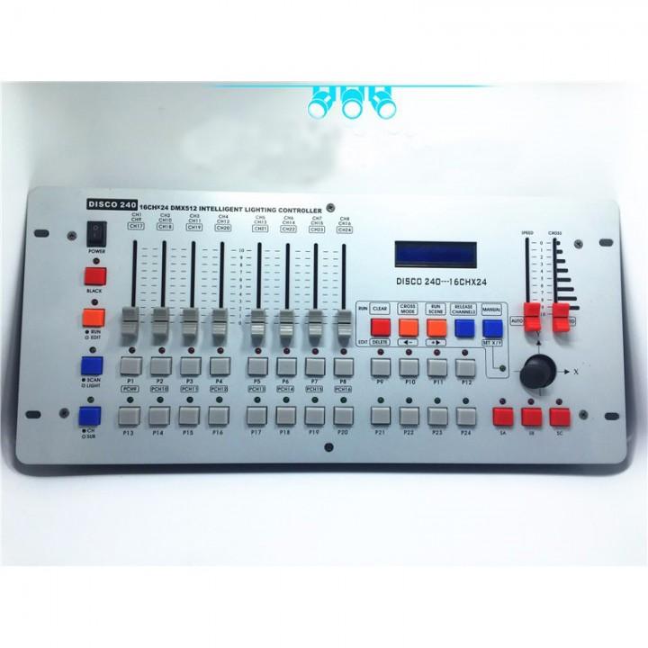 ảng điều khiển DMX 240 là bảng điều khiển ánh sáng sân khấu chuyên nghiệp giúp điều khiển ánh sáng một cách dễ dàng với độ chính xác cao.
