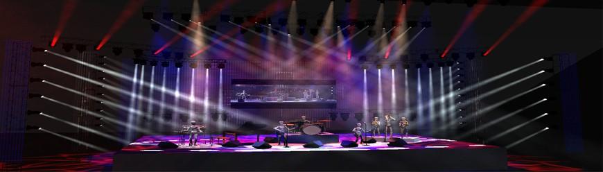 thiết kế, lắp đặt một sân khấu ca nhạc đơn giản, thi công lắp đặt sân khấu chuyên nghiệp, giải pháp ánh sáng sân khấu.