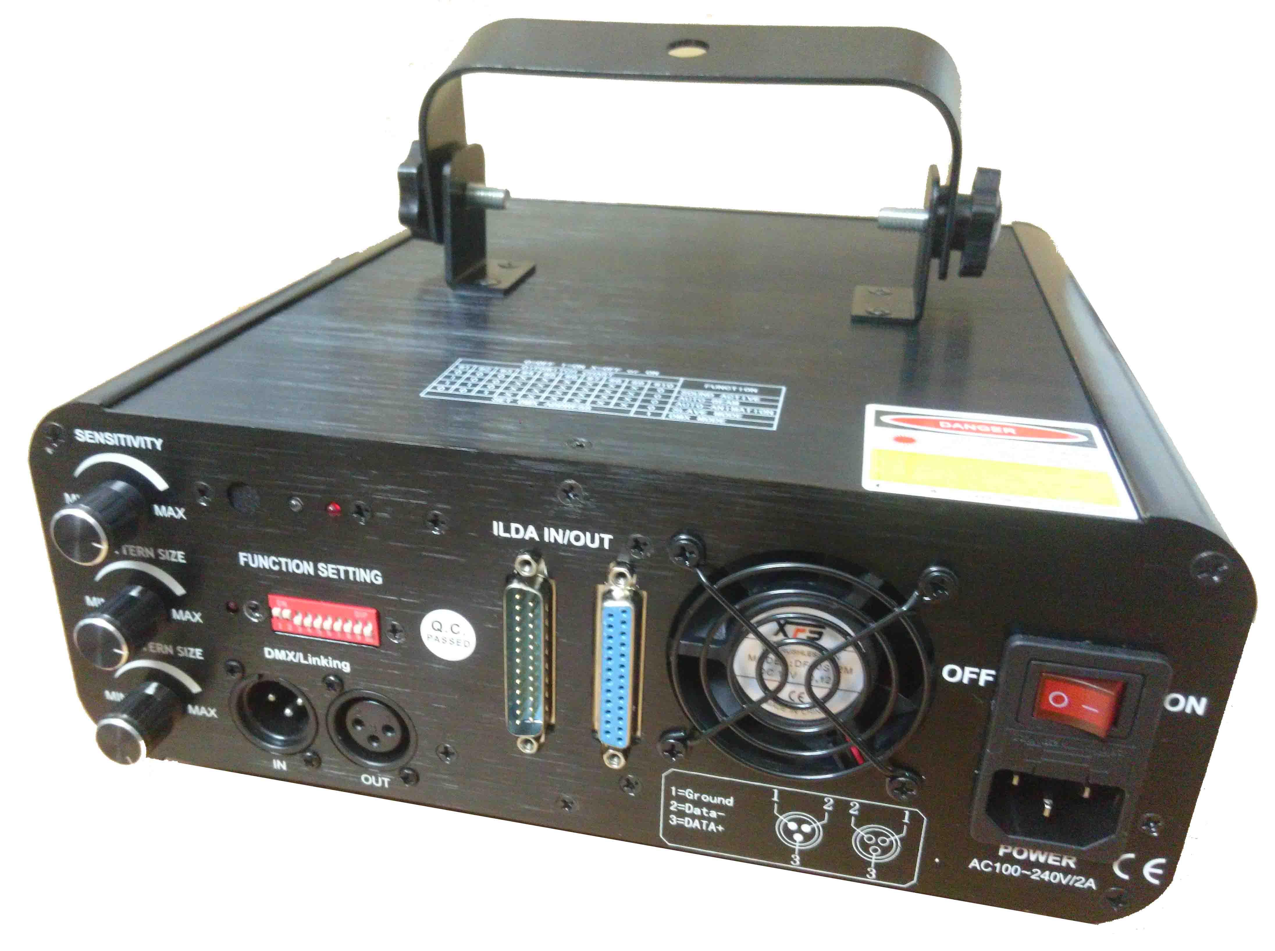 Mặt sau đèn laser quét tia chiếu hình 7 màu VD250RGB