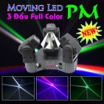 Đèn Moving head led 3 đầu full color, đèn moving head các loại, đèn moving head led