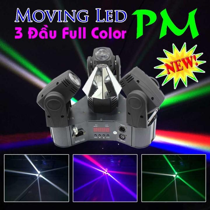 Đèn Moving head led 3 đầu full color, đèn moving head các loại, đèn moving head led