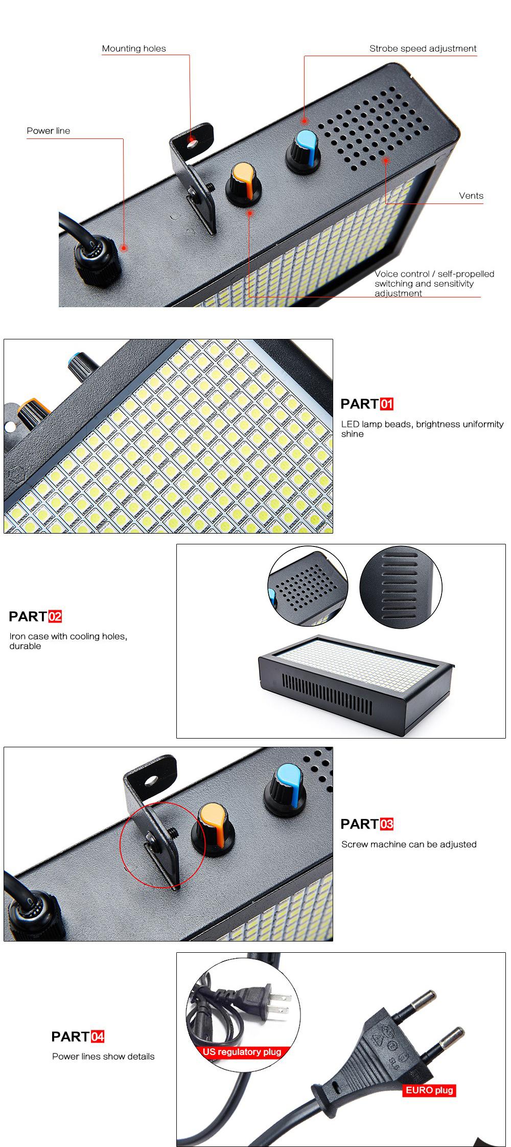 Các chi tiết của đèn chớp LED 7 màu 390 bóng