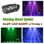 Đèn Moving head mini Spider 8x3W RGBW và ánh sáng của đèn