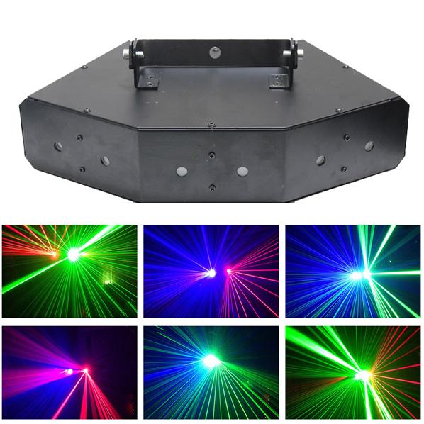 Đèn laser 6 mắt 3 màu Elisa và hiệu ứng