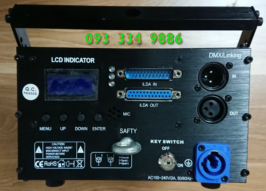 Mặt sau, giao diện kết nối, màn hình hiển thị, giao diện cài đặt của đèn laser 1W RGB