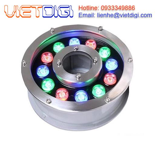 Đèn LED DMX 12W âm nước đổi màu dạng bánh xe